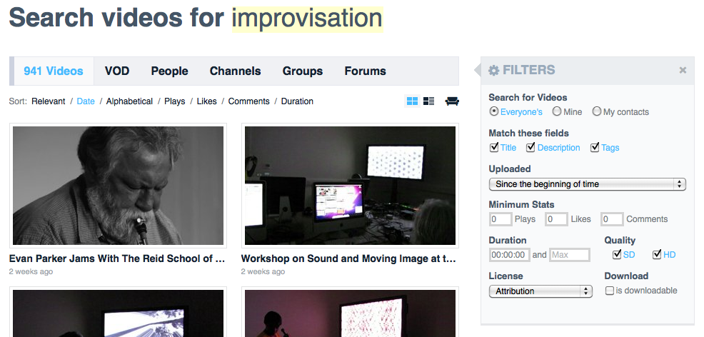 Search videos for improvisation (cc)by