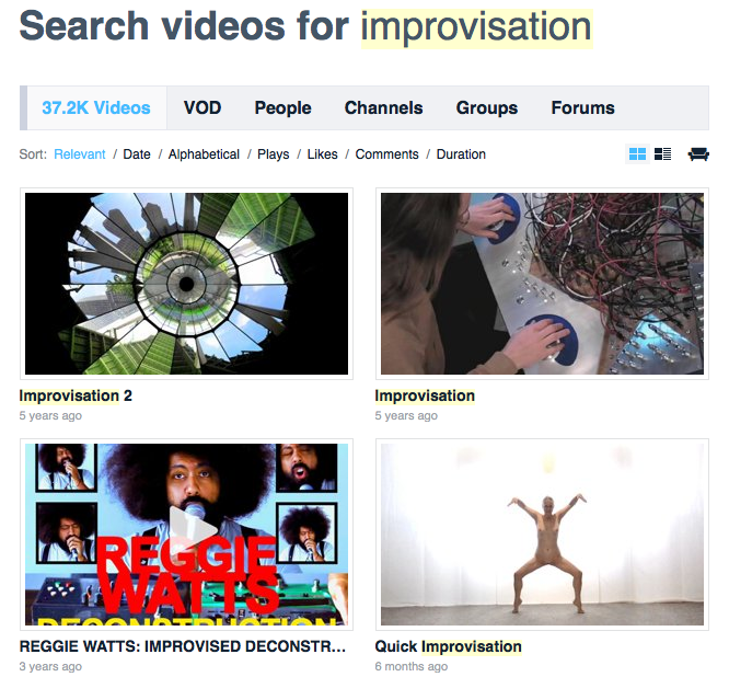 Search videos for improvisation